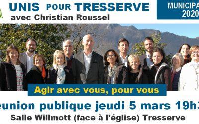 Réunion publique le 5 mars à 19h30, salle Willmott, Tresserve